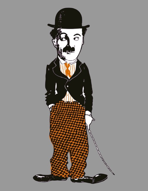 a caricature of Charlie Chaplin